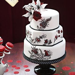 Cat in The Hat marries Jessica Rabbit - Wedding Cake