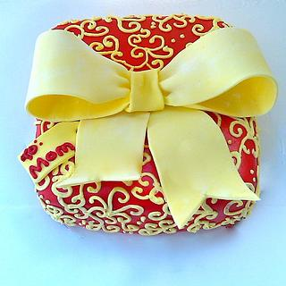 Red and Yellow Present Cake - Cake by Mimi's Sweet Shoppe Amanda Burgess