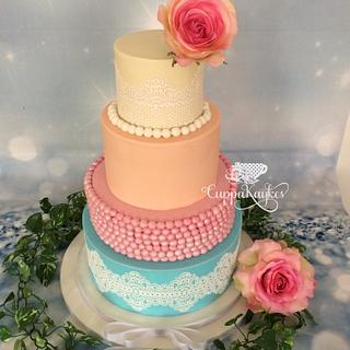 Lace & Pearl Pastel Wedding Cake