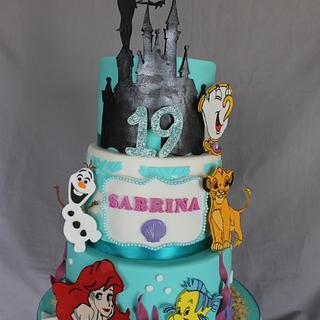 Disney themed birthday cake