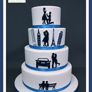 """""""How we met"""" Wedding Cake"""