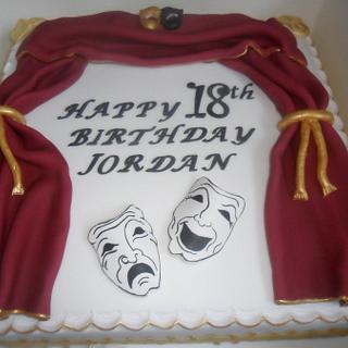 theatre tragedy masks birthday cake