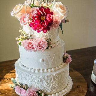 Rustic Scrolls Wedding Cake