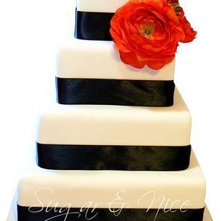 Modern Black & White Wedding Cake