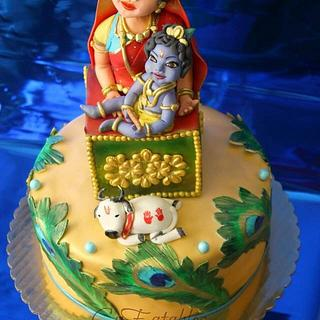 Krishna theme Baby shower celebration cake