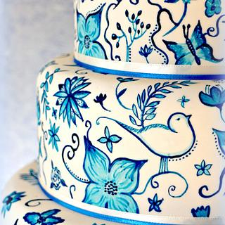 Hand painted Delft Pottery inspired cake