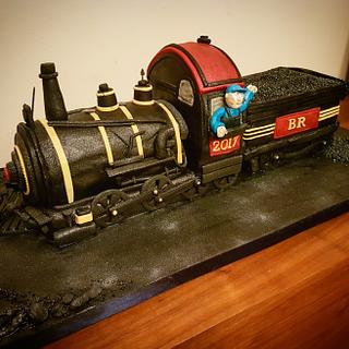 Hand carved steam train cake