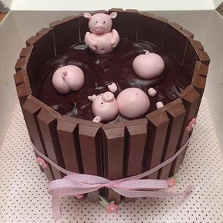 Piggies in mud cake