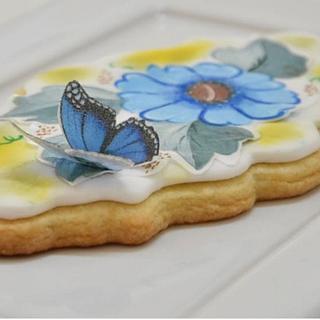 Cookie con papel de arroz pintada a mano