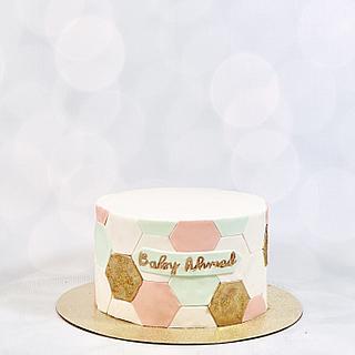 Geometric baby shower cake