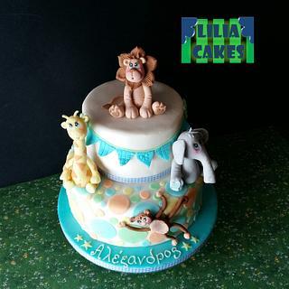 Baby animals birthday cake
