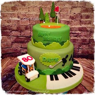 80th for golfer and electric organ player - Cake by Nanna Lyn Cakes