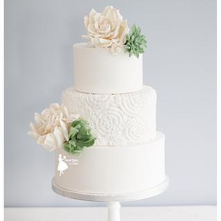 Succulents in winterweddingcake - Cake by Taartjes van An (Anneke)