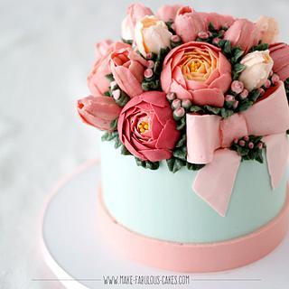 Buttercream Bow Cake - Cake by Make Fabulous Cakes