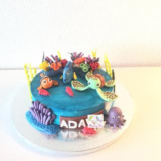 Finding Nemo n Dory theme cake - Cake by morningglorycakes