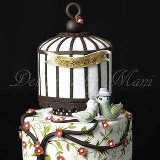 'love birds' Anniversary cake - Cake by designed by mani