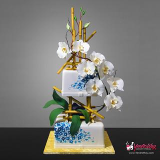 Bamboo & Orchids Wedding Cake