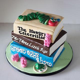 Stack of Books Baby Shower Cake