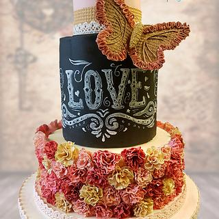 Vintage butterfly Love wedding cake