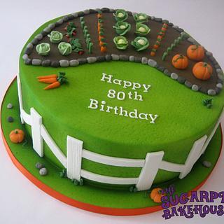 Gardening 80th Birthday Cake