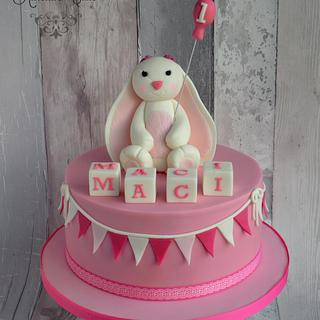 White and pink bunny cake