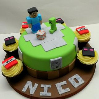 Minecraft Cake & Cupcakes - Cake by Sarah Poole
