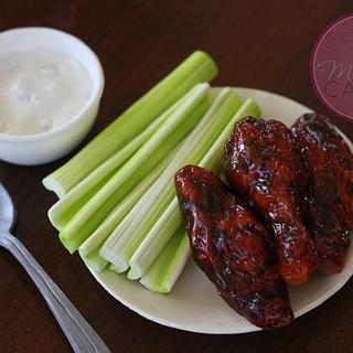 Sugar Chicken Wings, Celery, Blue Cheese & Tableware