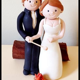 Campfire bride and groom topper