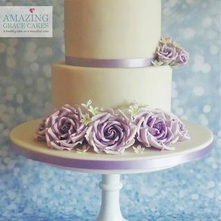 Lilac Rose Wedding Cake