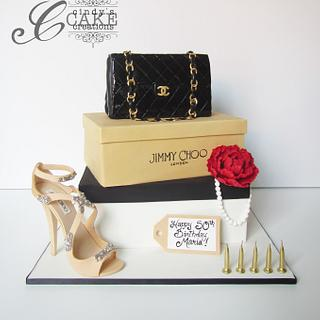 Jimmy Choo and Chanel cake - Cake by cindyscakecreations