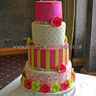 Hot Pink & Lime Green Wedding Cake