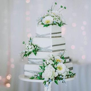 Modern Square/ Silver Sugar Flower Wedding Cake