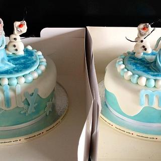 Frozen themed 4th birthday cakes.