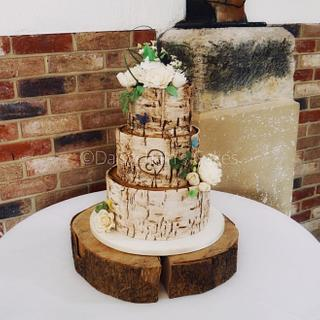 Rustic birch barch wedding cake