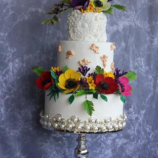 Floral fantasy wedding cake