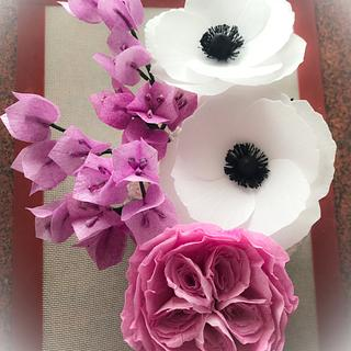 Wafer paper bouquet in bloom - Cake by Homebaker