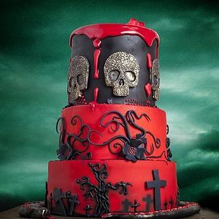 Red Halloween cake