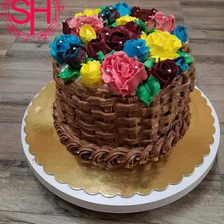 Buttercream flowers basket cake