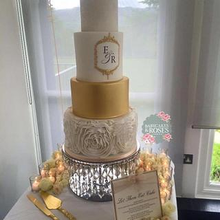 4 Tier Extended Tier Lustred Monogrammed Wedding Cake