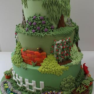 Silver Medal Garden Wedding Cake