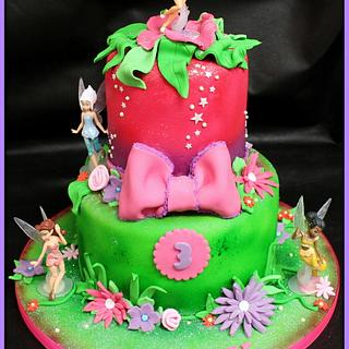 Two Tier Tinkerbell Birthday Cake