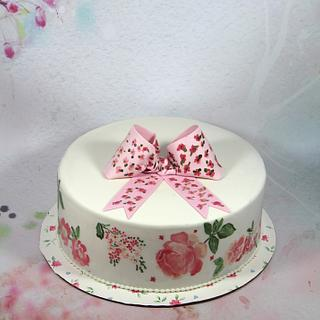 rose painted cake