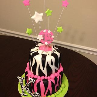 Zebra stripes birthday with pink and green