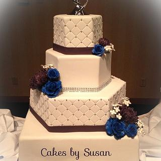 Hexagon bling wedding cake