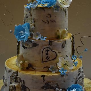 Aspen Bark Wedding Cake with Blue Floral - Cake by Cathy Leavitt