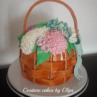 Basket of flowers - Cake by Couture cakes by Olga