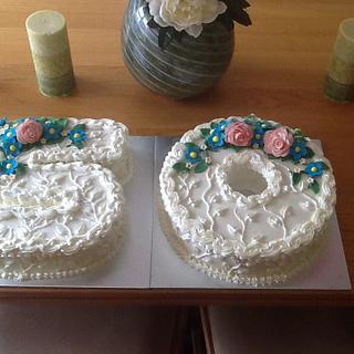 flowered 50 cake - Cake by joe duff