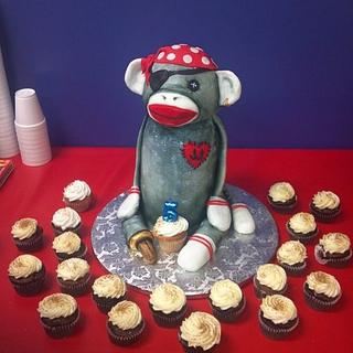 Pirate Sock Monkey Cake