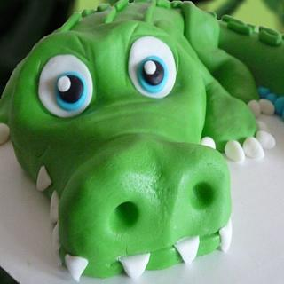 Baby's 1st birthday alligator cake!