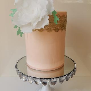 peaches and cream wafer peony cake